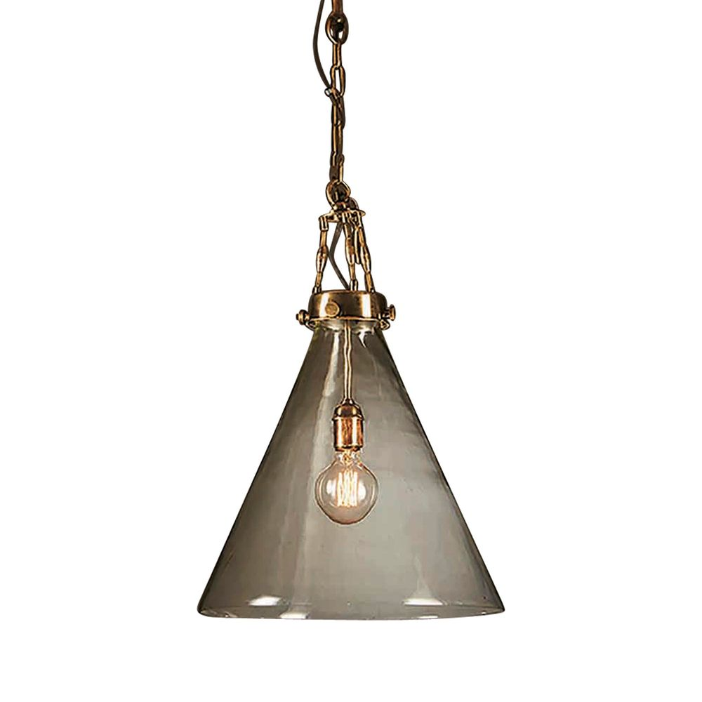 Gadsden Large Glass Hanging Lamp in Brass