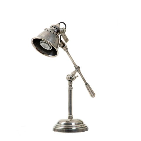 Newcastle Desk Lamp in Antique Silver