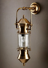 Load image into Gallery viewer, Lisbon Wall Lantern in Antique Brass