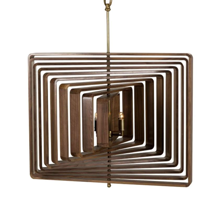Walnut Timber Spiral Ceiling Light