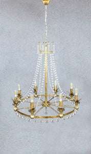 Rococo Chandelier Iron in Antique Silver