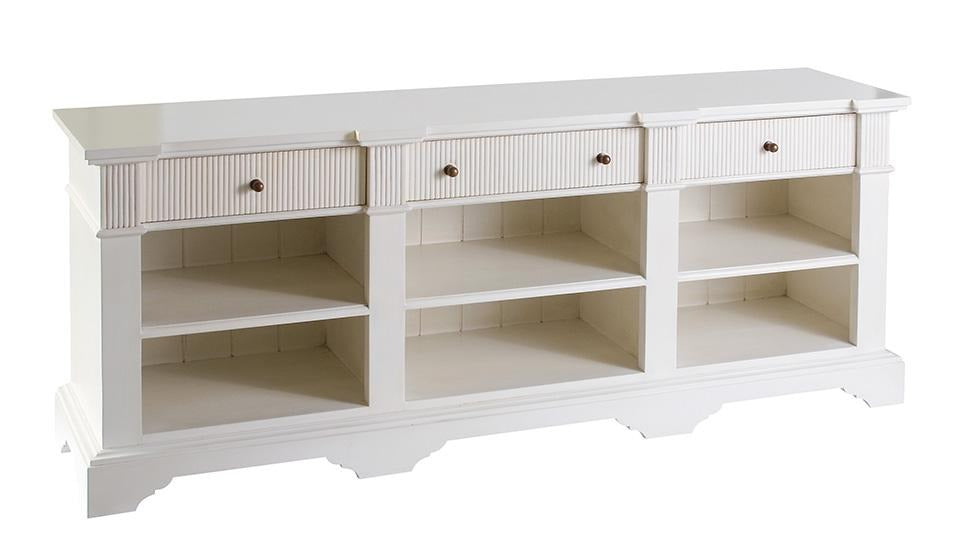 Hamptons White Open Entertainment Unit