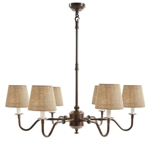 Prescot 6 Arm Chandelier in Copper