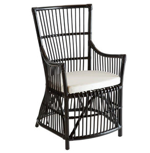 Hamptons Black Carver Cane Dining Chair