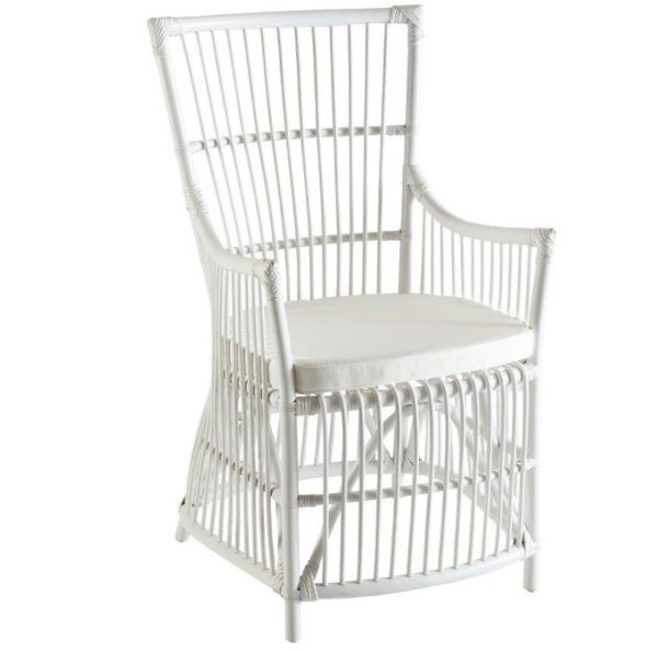 Hamptons White Carver Cane Dining Chair