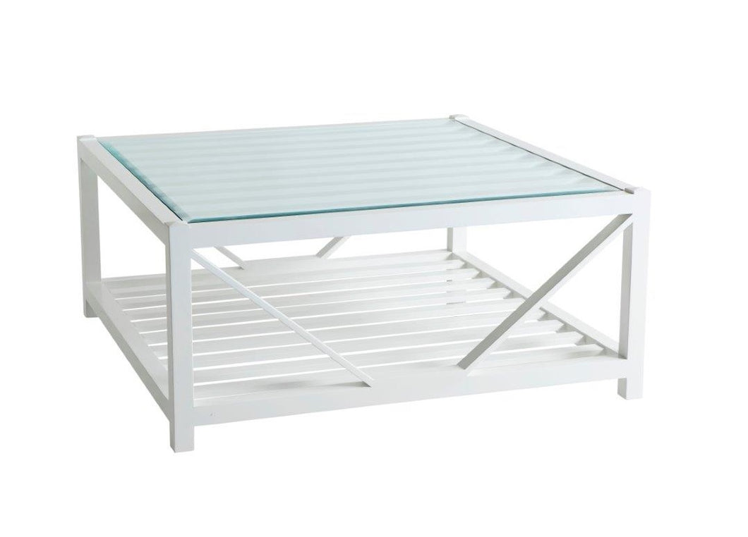 Hamptons White Square Glass Top Coffee Table