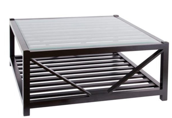 Hamptons Black Square Glass Top Coffee Table