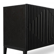 Load image into Gallery viewer, Black Veneer Sideboard with Timber Detailing