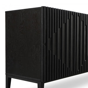 Black Veneer Sideboard with Timber Detailing