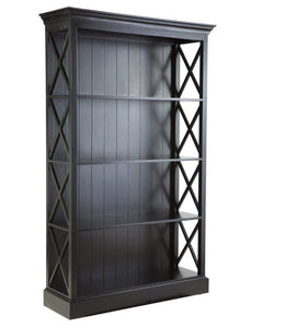 Hamptons Black Cross Bookcase