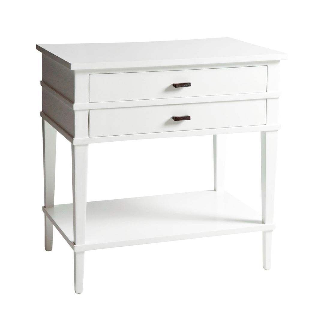 Hamptons White Slimline Bedside Table