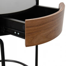 Load image into Gallery viewer, Walnut Side Table with Glass Top and Drawer