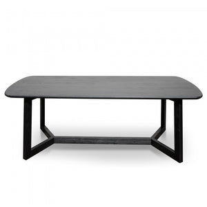 Solid Black Timber 2.2m Dining Table