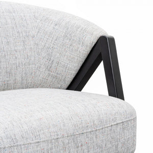Light Grey Armchair with Black Oak Frame