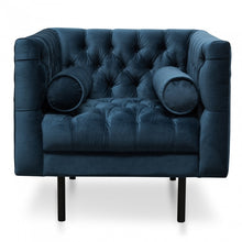 Load image into Gallery viewer, Navy Velvet Tufted Armchair