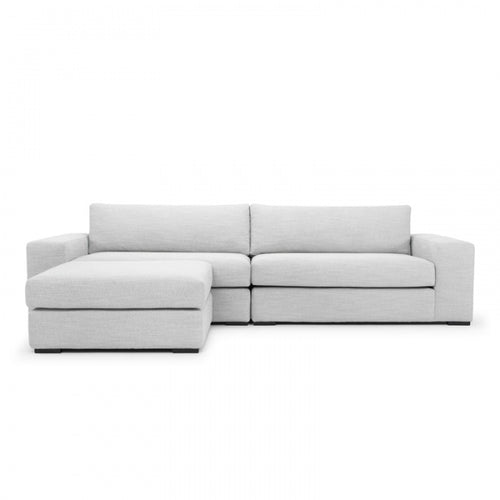 3 Seater Sofa with Footrest in Light Textured Grey
