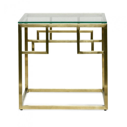 Brushed Gold Side Table with Glass Top