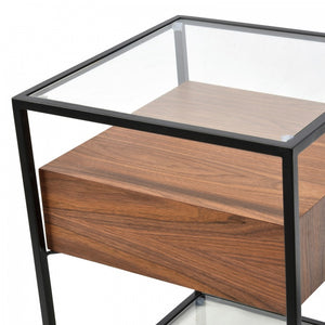 Scandinavian Walnut Side Tables with Glass Top
