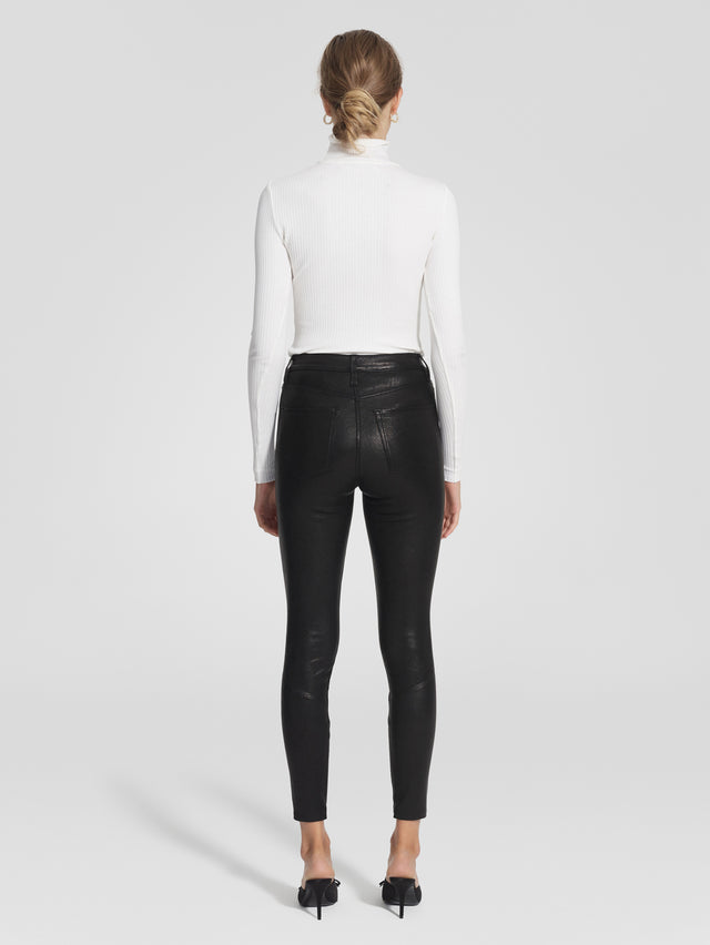 Cult Skinny Ankle Zip Blk Leather
