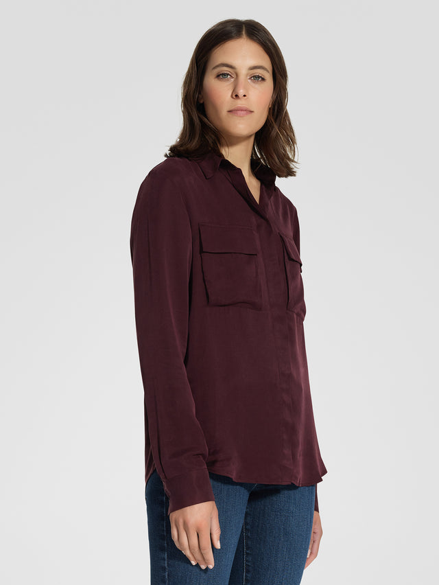 Raya Silk Shirt Plum