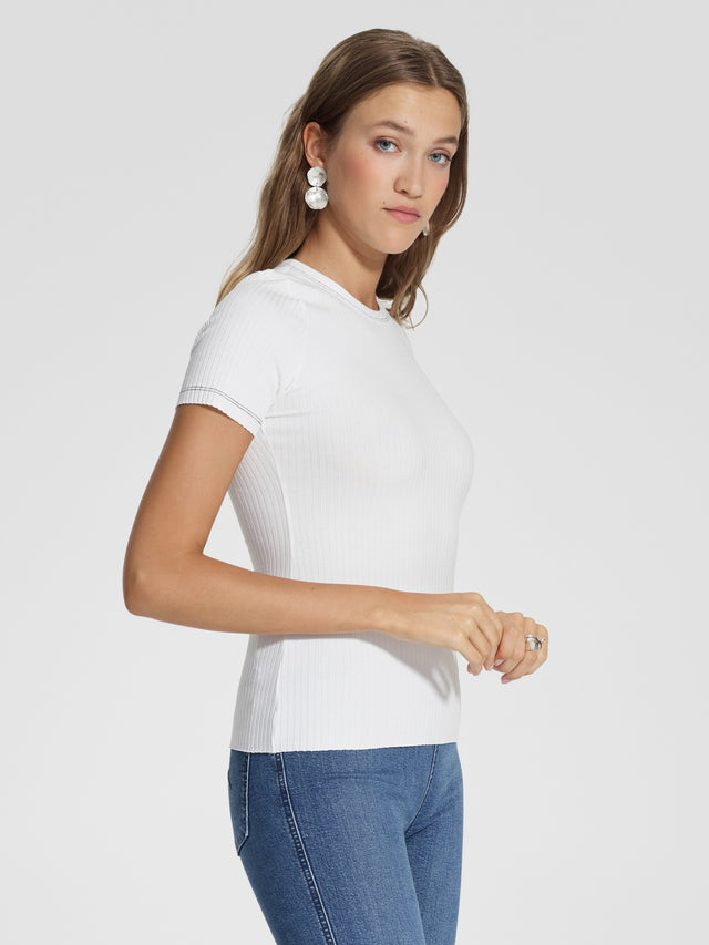 Luxe Rib Neat Tee Natural