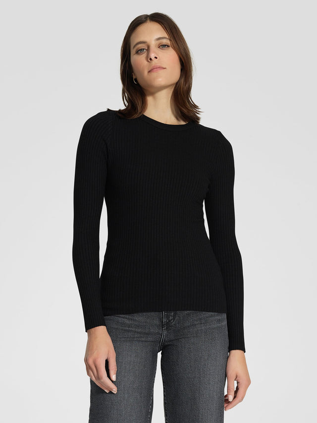 Luxe Rib Bound Long Sleeve Black Rib