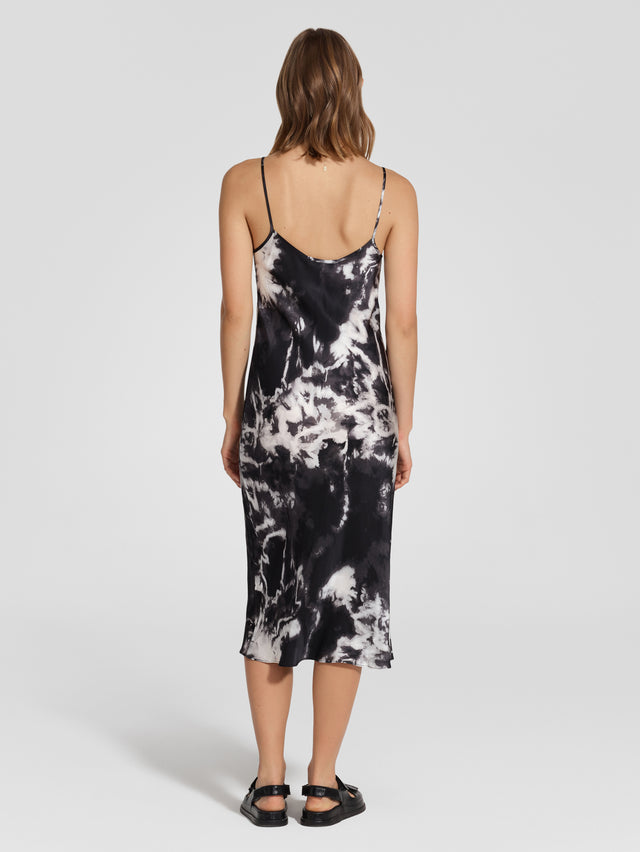 Silk Bias Cut Dress Tie Dye Black
