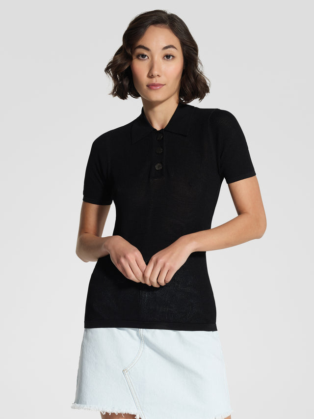 Frida Open Knit Polo Black