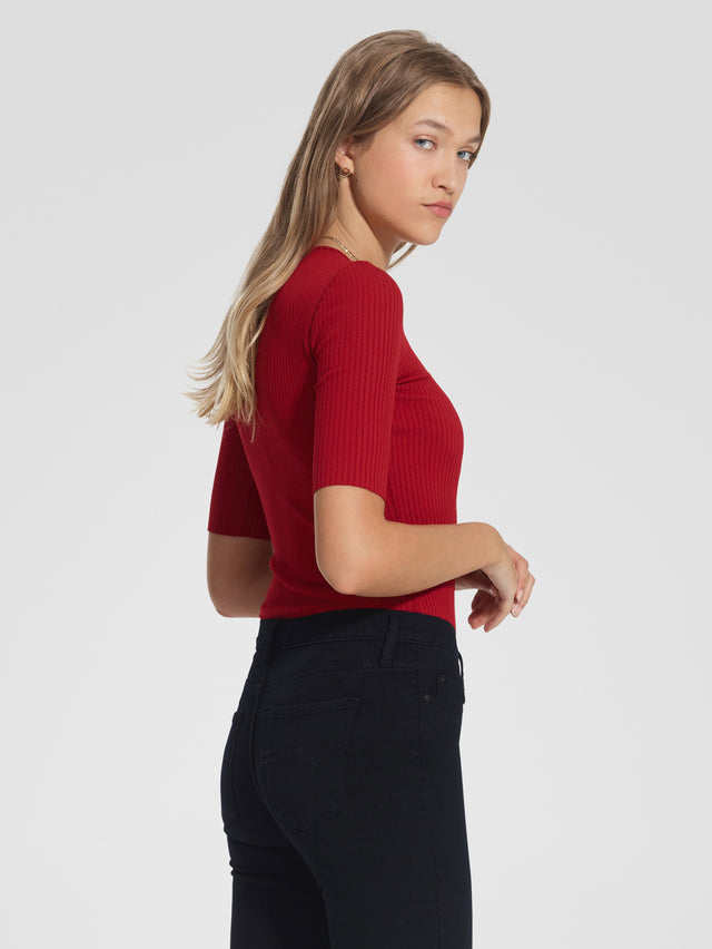 Luxe RibTee Ruby Red