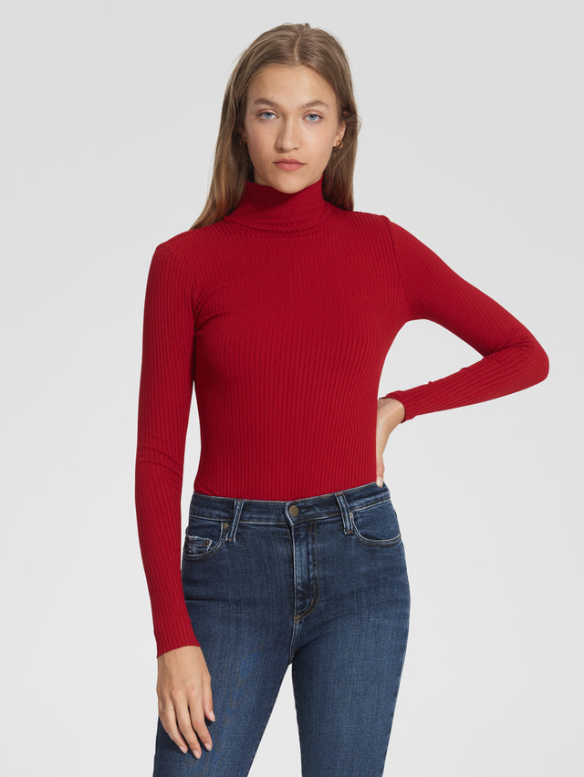 Luxe Rib Long Sleeve Ruby Red