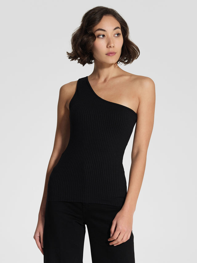 Luxe Rib Tank One Shoulder Black