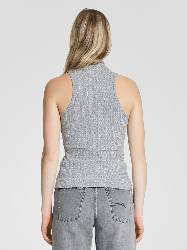Luxe Rib High Neck Tank Grey Marle