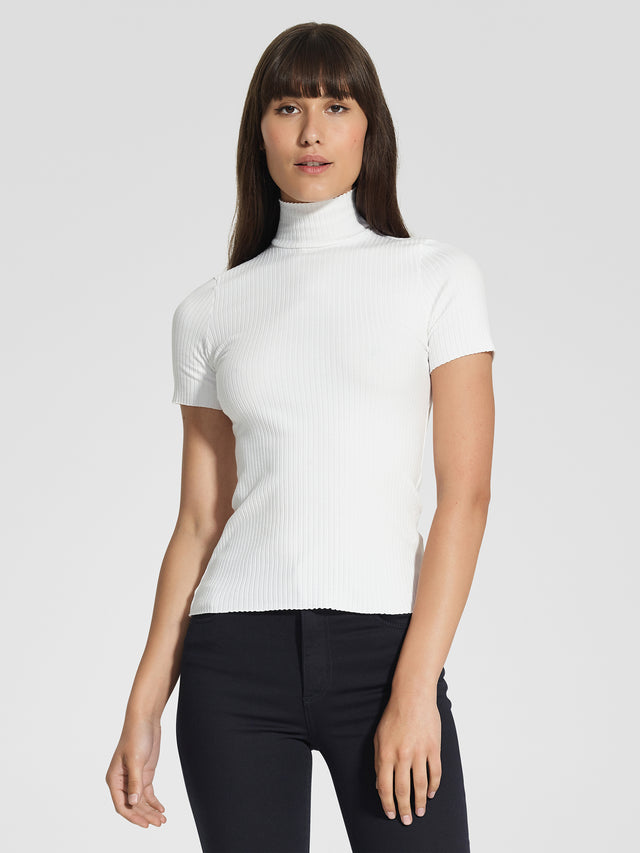 Luxe Rib Turtle Neck Tee Natural Rib