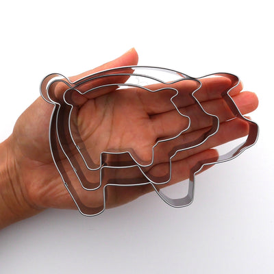 Pig Cookie Cutter Set, 3 Piece, Stainless Steel