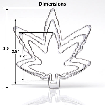 Marijuana Leaf Cookie Cutter 3 Piece Set - Stainless Steel