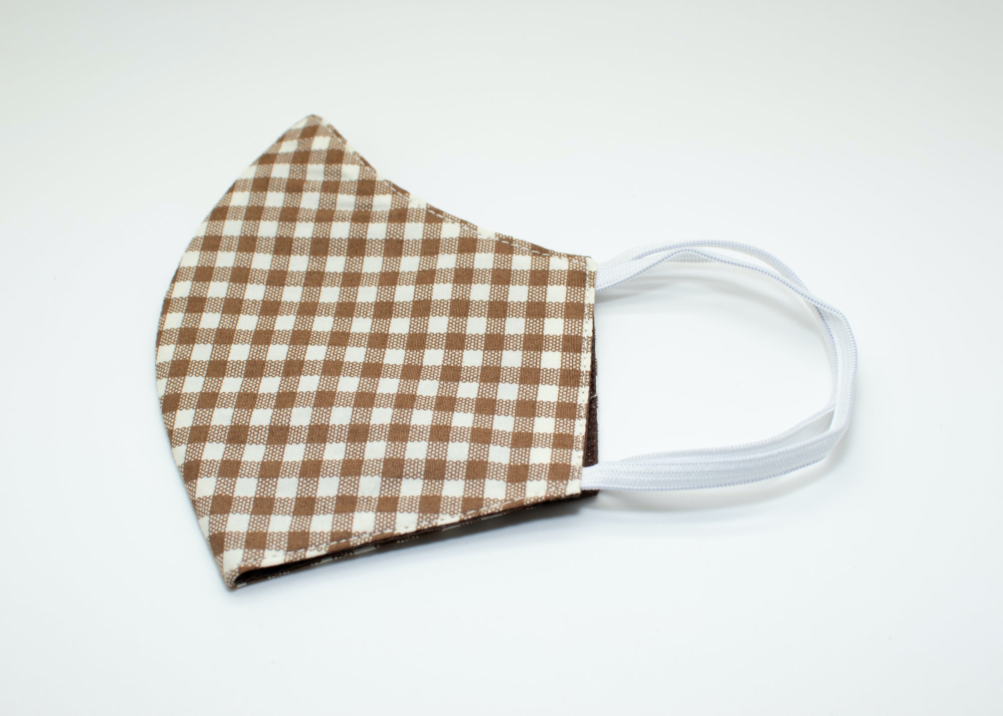 Brown & White Checkered Mask