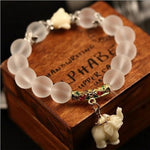 Crystal Quartz Bracelet with Elephant Charm