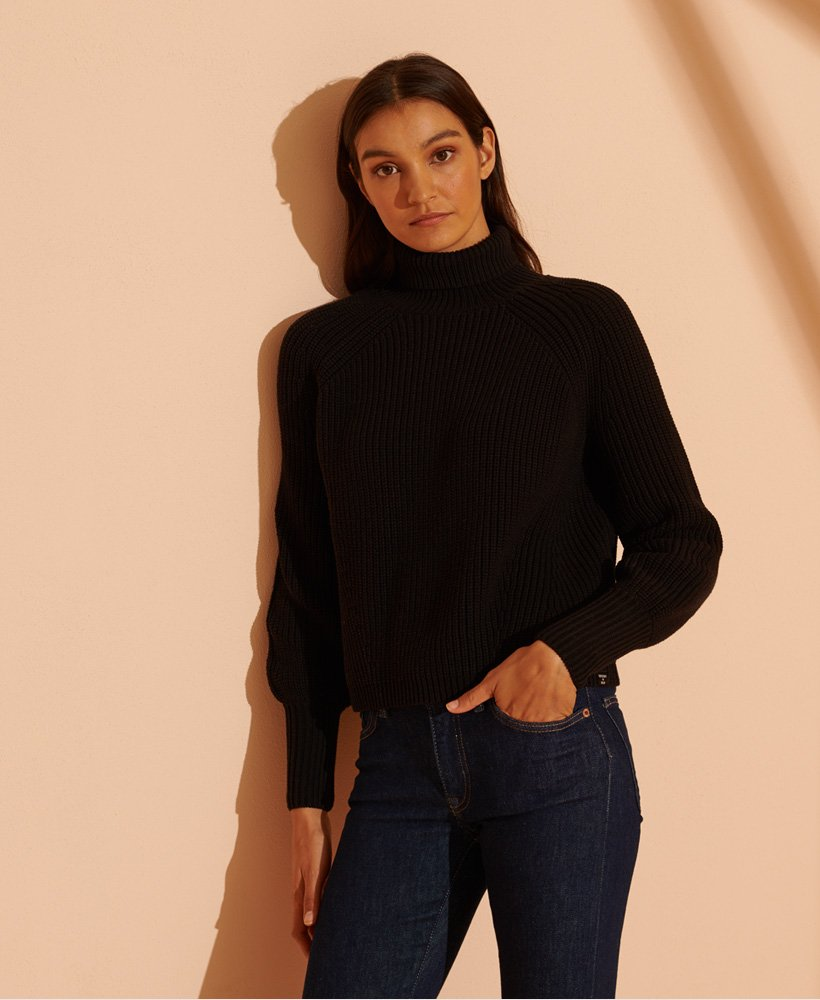 Superdry Amy Ribbed Roll Neck Jumper Black