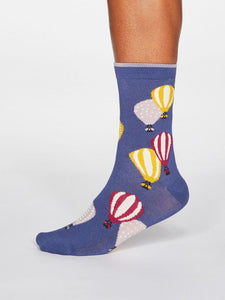Thought Louise Air Balloon Bamboo Organic Cotton Blend Socks Mineral Blue