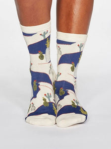 Thought Ettie Cactus Print Organic Cotton Socks Cream
