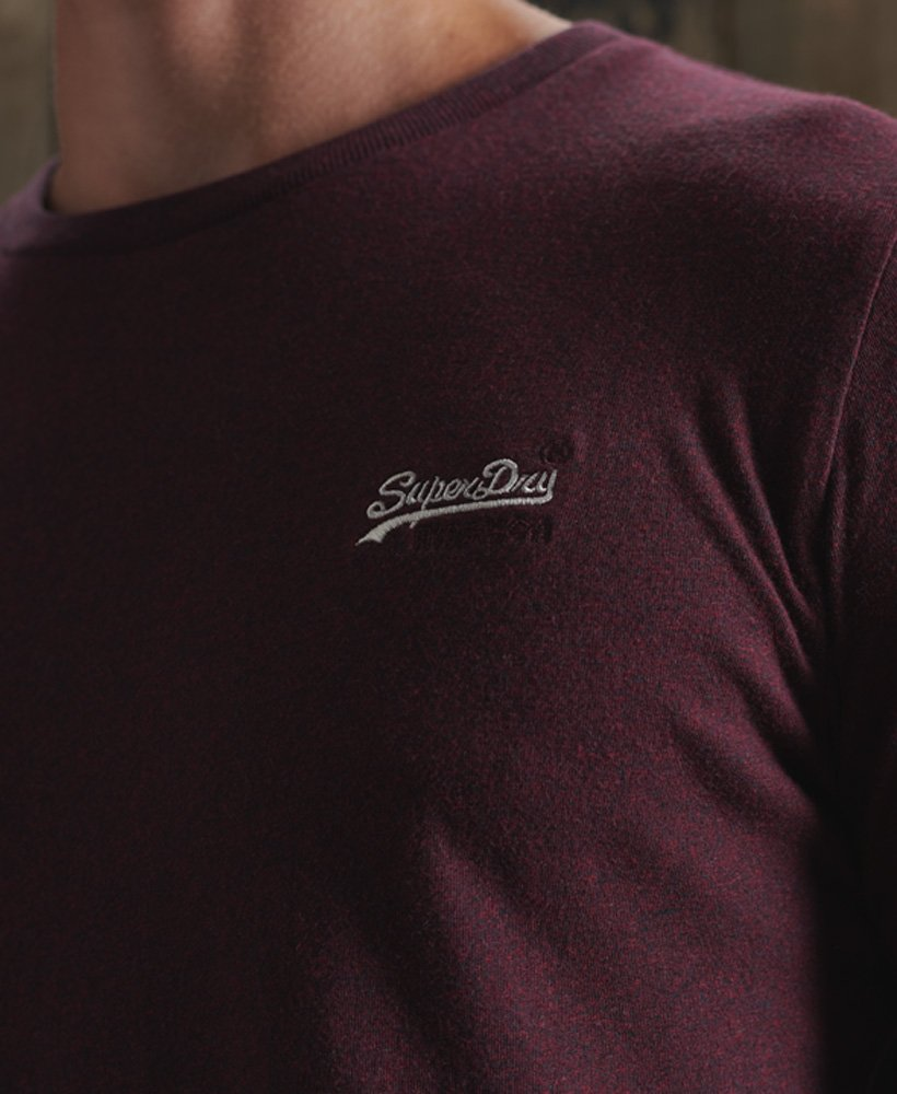 Superdry Orange Label Vintage Embroidered Long Sleeve Top Deep Burgundy Grit
