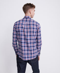 Superdry Workwear Lite Long Sleeve Shirt Navy Check