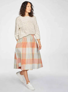Thought Alexa Organic Cotton Check Print Woven Skirt Clementine Orange