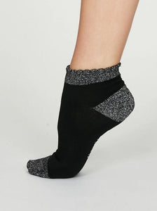 Thought Glister Bamboo Glitter Ankle Socks Black
