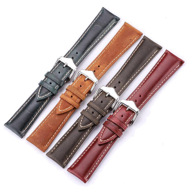 Red / Green / Brown Leather Watch Band with Silver Buckle (TWS115)