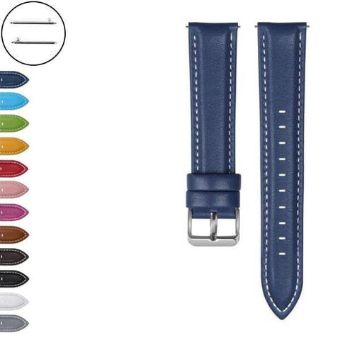 Image of White / Yellow / Red / Pink / Blue / Green / Brown / Grey / Black Leather Watch Band (Quick Release Pin) (TWS070)