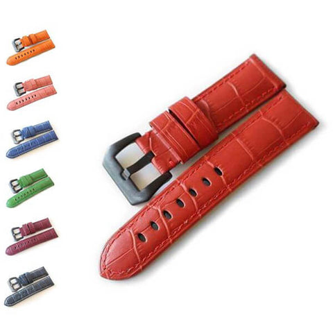 Image of Orange / Red / Pink / Blue / Purple / Green Leather Watch Band (TWS099)