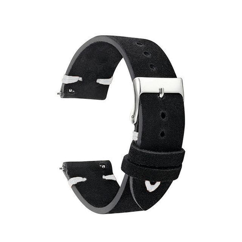 Black Cowhide Suede Leather Watch Band (Quick Release Pin) (TWS143)