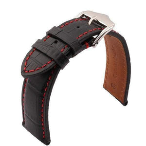Black Leather Watch Band With Silver Buckle (TWS150)