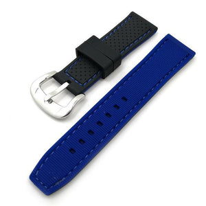 Black Rubber Watch Band With Orange / Red / Blue Threads (TWS125)